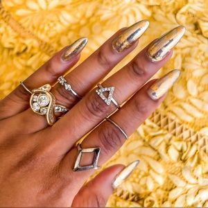 Silver crystal ring set